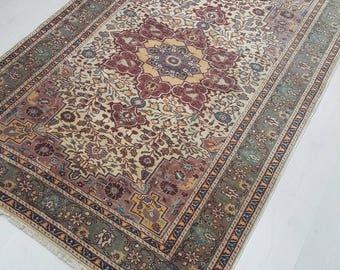 5 by 7 rug / Vintage Oushak Rug / Vintage Rug / Oushak Area Rug / Turkish Vintage Rug / Oushak Rug / Area Rug / Boho Rug / Low Pile Rug