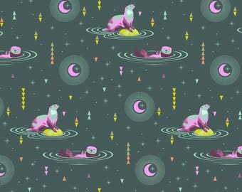 Otter Geometric in Pink Chartreuse Teal on Grey Background - Luna Otter & Chill from Spirit Animal by Tula Pink for Freespirit