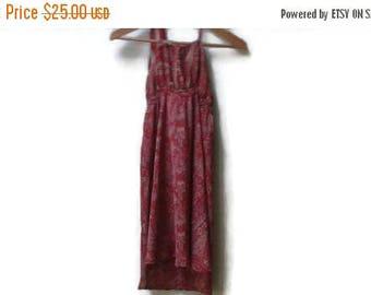 SALE Red silk dress paisley print s-m