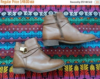 SALE Brown Chelsea Boots Ankle booties Hibou with Buckle Made in Romania size 36 5.5 6