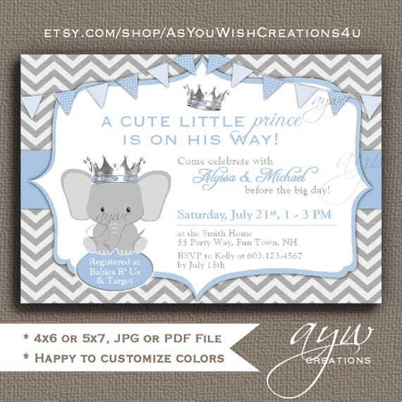 Cute Elephant Baby Shower Invitations for Boy Elephant Baby Shower