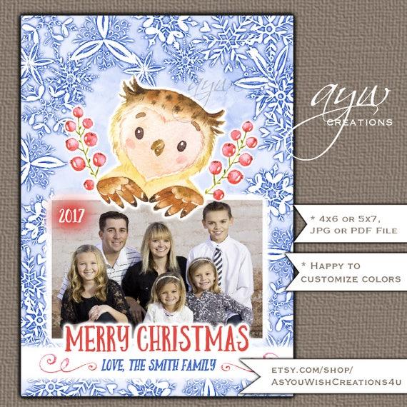 owl christmas card printable christmas card printable owl watercolor