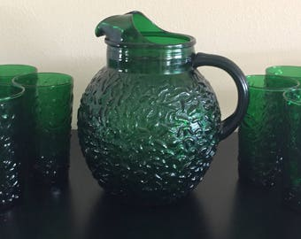 Vintage Green Bubble Glass Pitcher and Glasses