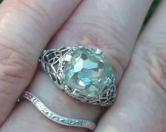 Moissanite Engagement Ring Art Deco Engagement Ring