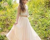 Boho champagne skirt and gold top set for Natasha Dawson