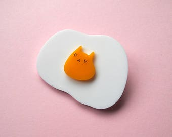 Cat Egg Brooch - Cat Brooch - Egg brooch - Cat - Fried Egg - Egg Cat - I like Cats - Acrylic jewellery - Cat gift - eggs - laser cut brooch