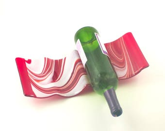 Red and White Tabletop Wine Rack, Countertop Storage, 9 Bottle, Fused Glass, Cool Bar Accessories, Unique Wedding Gifts for Couples
