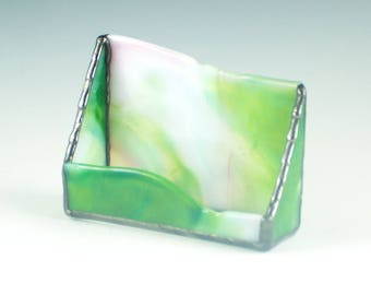 Business Card Holder for Women, Desktop Accessories for Home Office, Pink Green White, Stained Glass, Unique Gifts for Boss for Christmas
