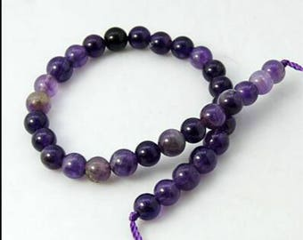 7.5 Inch Strand 8mm Natural Amethyst Beads-6108u