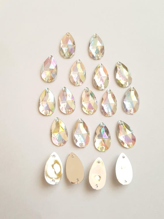 50pcs Crystal AB 18mm*11mm Flat Back Tear Drop Sew On Acrylic Rhinestones Embellishment Gems