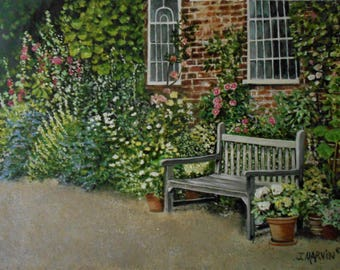 Original Oil Painting In The Garden stretched canvas 18 X 24 inches