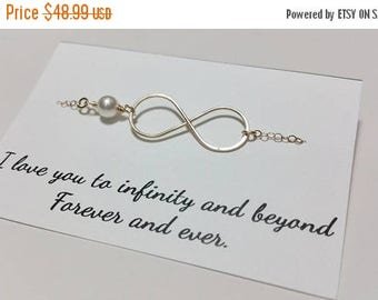 ON-SALE Set of TWO Gold Infinity Necklaces - Mother of the Groom and Bride Gifts, Personalized Card, Jewelry Box