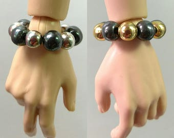 Fashion Doll Stretch Bracelet Jewelry - Hematite Bracelet with Silver or Gold Beads for Fashion Royalty Hommes, Ken, Action Figures etc