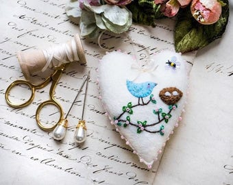 Hand Embroidered Bird & Nest Heart Decoration