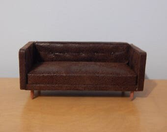112 scale miniature modern faux leather sofa