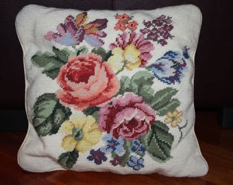 Vintage Needlepoint Roses and Flowers Pillow Floral 1970s