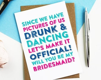 ON SALE Since We Have Photos Funny Bridesmaid Maid of Honour Best Man Greeting Card DYPW0012