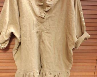 One size European Linen Prairie Oversized shirt latte caramel Oversize Prairie Chic Boho Lagenlook long sleeves RitaNoTiara Southern Gothic