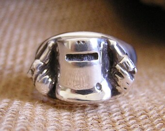 Sterling Silver Ned Kelly Ring Hand Cast Australian Made Icon Outlaw Dress Ring Solid Silver Gift for Him Unique Present Something Different
