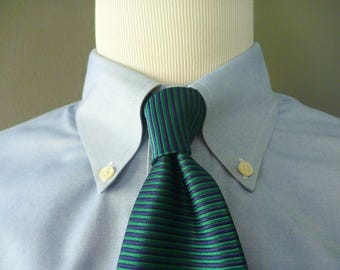 Vintage Brooks Brothers MAKERS All Silk Navy Blue & Teal Horizontal Striped Trad / Ivy League Neck Tie.  Made in USA.
