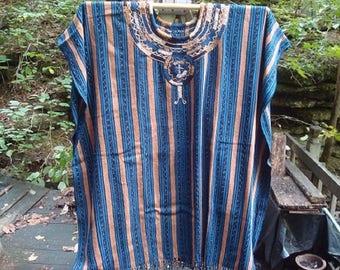 San Juan Blue Striped Poncho