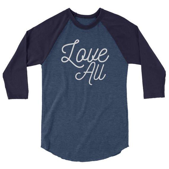 Love All Tennis Tshirt Tee Shirt 3/4 sleeve raglan shirt Luna B. Tee