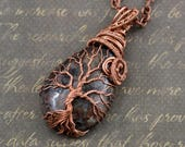 Garnet Tree-Of-Life Necklace Pendant Wire Copper Jewelry Healing stones Family Tree Rustic Anniversary Gift for Men Women January Birthstone