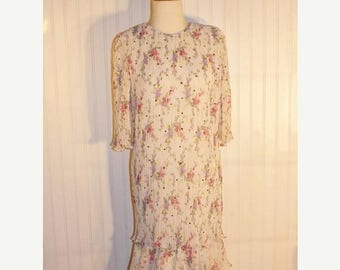 On Sale 50% OFF 80's Vintage Judy Hornby Couture Dress White and Pink Floral Rhinestones SZ 10