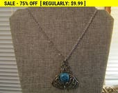 Vintage turquoise bead pendant necklace for wear or craft