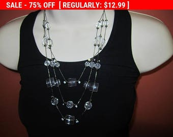 SALE Faux crystal multi strand necklace, statement necklace, hippie, boho, estate jewelry