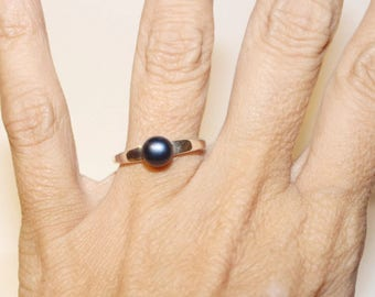 Black Pearl Ring, Sterling Silver Ring With Black Pearl, Freshwater Pearl Ring