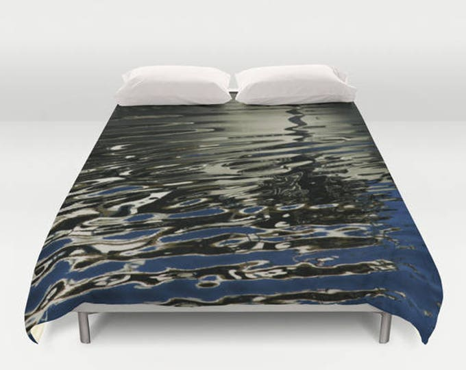 Liquid Silver Duvet Cover, Bedspread, Water Reflection, Photography, Bedroom Decor, King Duvet, Full Duvet
