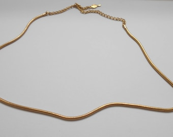 """Vintage Sarah Coventry 16"""" Gold Tone Rope Style Chain Necklace (8763)"""