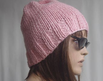 Knit Womens Hat - Slouchy Hat - Slouchy Beanie - PINK Women Hat - Knit Womens Hat - Winter Hat - Chunky Women Hat - Cable Hat - Hat