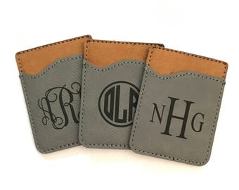 Personalized Cell Phone Wallet, Monogram Credit Card Holder for Phone,Monogram Phone Card Caddy, Personalized Phone Card Holder, 5 Colors