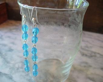 Blue Earrings, Long Dangle Earrings, Blue Frosted Earrings, Frosted Blue Earrings, Jewelry, Womens Jewelry, Silver Earrings, Gift for her