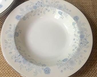 Set of Four Wedgwood Belle Fleur Rimmed Soup Bowls 1960s Fine English Bone China