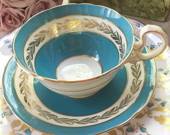 Stunning Aynsley Teacup Trio with Royal Chelsea Tea Plate made in England Vintage Teacup Trio