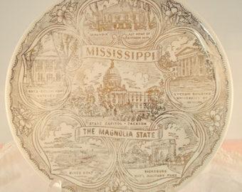 Vintage Mississippi Plate Mississippi Commemorative Plate Mississippi Collectible Plate Magnolia Plate