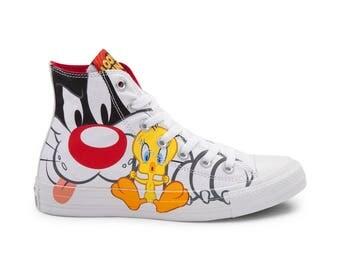 Tweety Bird Sylvester Cat White Converse High Top Retro Cartoon Looney Tunes w/ Swarovski Crystal Chuck Taylor Custom All Star Sneaker Shoe