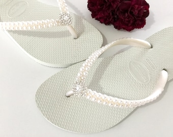 Havaianas Pearls Rock Slim Bridal Pure White Rose w/Swarovski Crystal Rhinestone Flip Flops Bling Silver BridesMaid Beach Wedding shoes