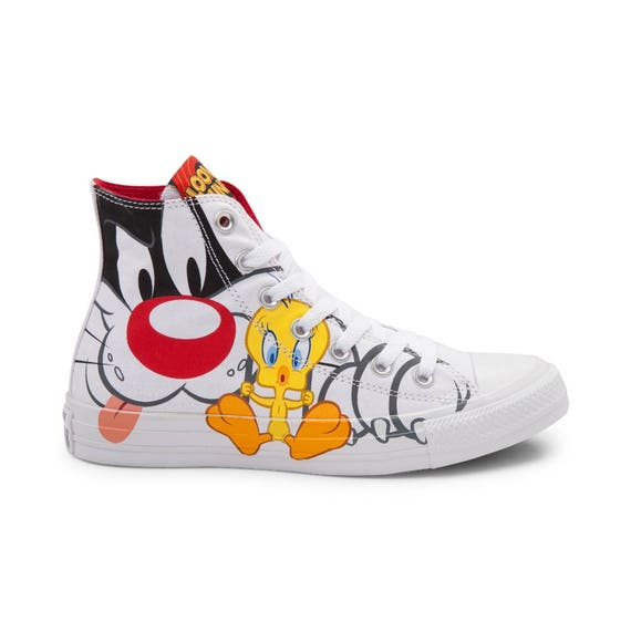 Looney Tunes Converse Tweety Bird Sylvester Cat White High Top Retro Cartoon w/ Swarovski Crystal Chuck Taylor Custom All Star Sneakers Shoe