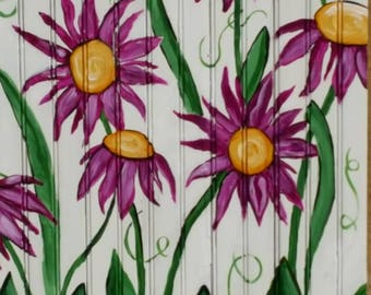 "Purple Sunflowers"" painted by artist Katrina Morrison"