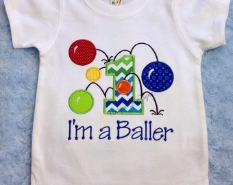 Custom Bouncy Balls Shirt, I'm a Baller Bouncy Ball Shirt, Bouncy Balls Birthday, Boys Applique Birthday T-Shirt or Bodysuit, Tops,