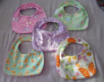 Butterfly BABY BIBS with Velcro Fastners