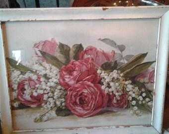 Roses Print In Distressed Wood Frame*Paul DeLongpre Framed Print