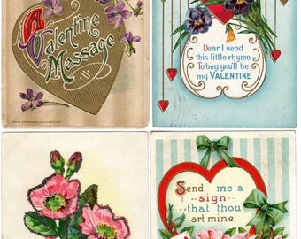 ON SALE Lot of 4 Antique vintage Victorian Gold Embossed Valentine Postcards with Flowers & Hearts 1912