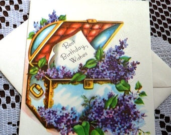 ON SALE Vintage Happy Best Birthday Wishes Embossed Treasure Chest Lilac Flowers Greeting Card & Envelope 1940s 1950s Unused On Your Birthda