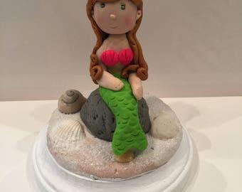Polymer clay cake topper, Mermaid cake ,birthday cake topper,,handmade