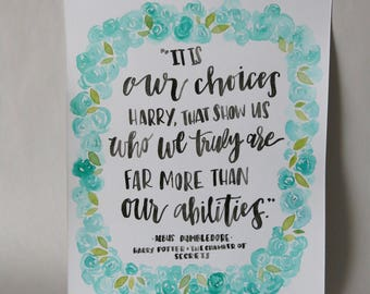 Original Artwork Watercolor Painting Hand Lettered Harry Potter Quote